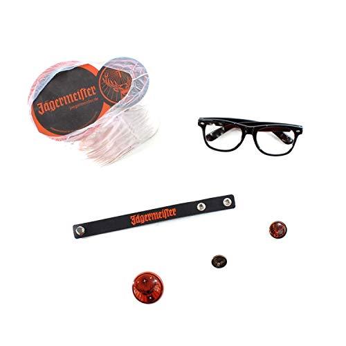 Jägermeister Fanpaket: Glas-Untersetzer Nerd Brille Blink-Button Armband Metall & Ansteck Pin ~mn 1100 55