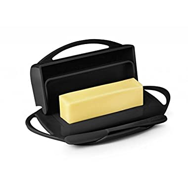 Butterie Flip Top Butter Dish For Countertop or Refrigerator, BPA Free, Black
