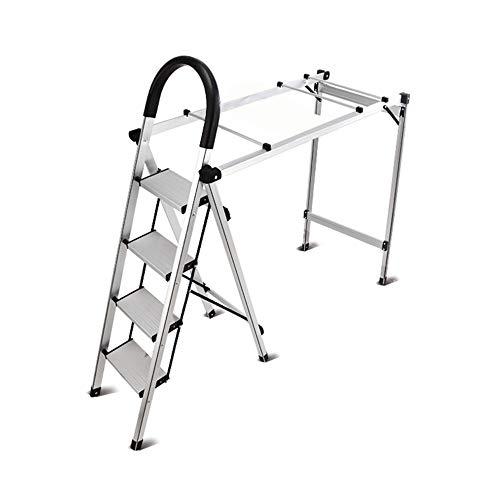 XUQIANG Taburete con escalones para Uso doméstico Escalera Plegable multifunción Rack de Secado Interior y Exterior Taburete con peldaños de Doble Uso de Aluminio Grueso Tritthocker