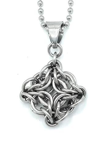 Celtic Labyrinth Chain Maille Pendant, large