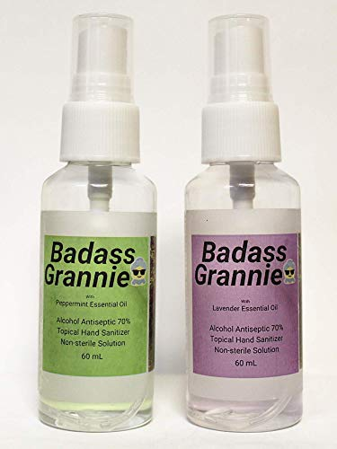 BADASS GRANNIE ALCOHOL HAND SANITIZER SPRAY ESSENTIAL OILS LAVENDER and PEPPERMINT 70% Alcohol Kills 99% of Germs with Glycerin, Moisturizing, Soothing, Fights Germs & Bacteria Waterless Deep Clean