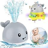 Tokenhigh Baby Badespielzeug, Automatische Induktions Sprinkler Wal,Baby Pool Spielzeug,Schwimmende Badewannenspielzeug für Kinder Wasser Dusche Kinder Wasser Dusche (Grau)