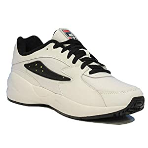 Fila Mens Mindblower Leather Low Top Lace Up Running, Wht/Blk/Sfty, Size 9.5