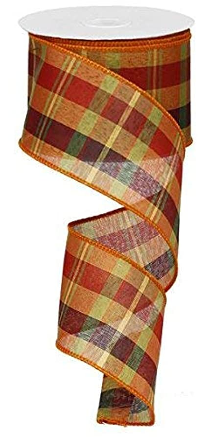 Fall Woven Plaid Orange Persimmon Gold Chocolate Brown Wired Ribbon 2.5
