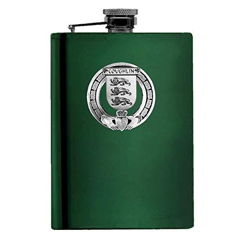 Coughlin Irish Claddagh Badge 8 oz. Flask Emerald, Ebony or Stainless
