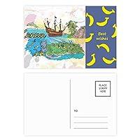 都市カンクンメキシコ島のマヤの寺院の水彩画 バナナのポストカードセットサンクスカード郵送側20個