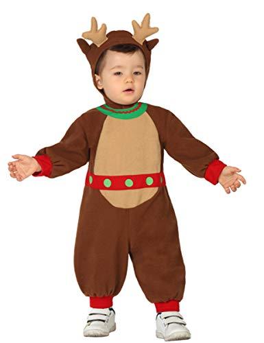 Atosa-28854 Atosa-28854-Disfraz Reno niño bebé-Talla Navidad, Color marrón, 6 a 12 Meses (28854)