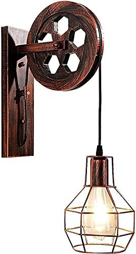 ZJDM Lámpara de Pared Retro, lámpara de Pared Industrial con Pantalla de luz Vintage, Apliques de Pared E27 para Pasillo Interior, Barra de Dormitorio, Bronce Rojo