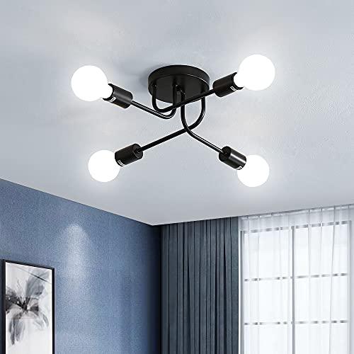 Goeco Lámpara de techo Retro, 4 bombilla Lámparas de Araña Base E27 , Iluminación de techo industrial para Salón Dormitorio Cocina (sin bombilla)
