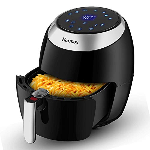 Tooluck 6.5L No Oil Air Fryer, 1800W Fryers with Timer, Touch Screen Style Electric Air Fries Cooker for Kitchen 12.6 * 15.0inch (Black)