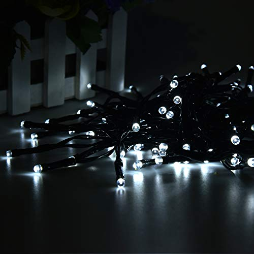 2 Pack 100 LED Solar String Lights 42ft 8 Modes Outdoor Waterproof Lights for Garden, Tree, Yard, Christmas, Wedding, Party (White)