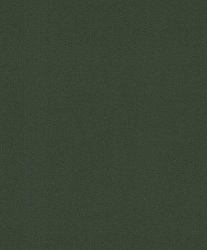 rasch Tapete 860245 aus der Kollektion b.b home passion VI – Einfarbige Vliestapete in Dunkelgrün mit körniger Struktur – 10,05m x 53cm (L x B)