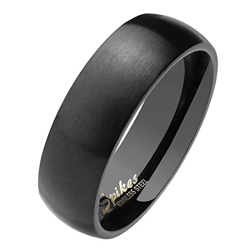 Paula & Fritz® matt poliert 6mm breit Edelstahlring Damen-Ring Verlobungs-Ring Freundschaftsring Herrenring Partnerring Dome schwarz 63 (20)