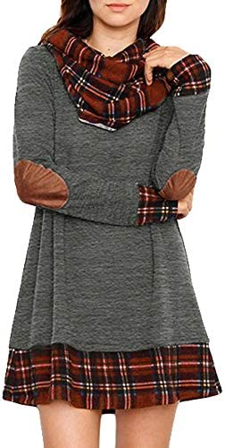 Alaster Queen Women s Cowl Neck Long Sleeve Plaid Elbow Patch Casual Sweater Mini Tunic Dress product image