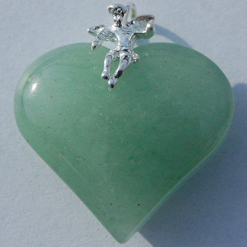 Herz-Anhänger (Aventurin grün) mit Schutzengel (Silber) 25 mm