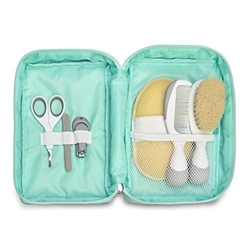 Chicco - Reise-Hygiene-Set für Kinder, 6 Stück, Bürste und Kamm, Schwammhandschuh, Schere mit abgerundeten Spitzen, Nagelknipser und Feilen, Mehrfarbig, 0001023100000