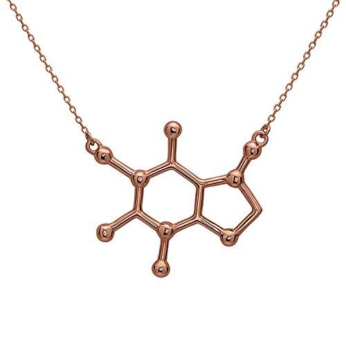 Koffein Molekül Anhänger Halskette aus 925 Sterling Silber by Serebra Jewelry (Roségold-Überzug)