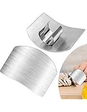 Cisolen 2 protectores de dedos de acero inoxidable para cocina, protege tus dedos de lesiones al cortar verduras para principiantes.