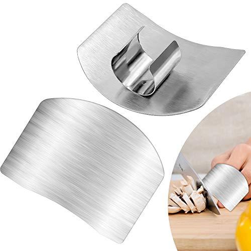 Cisolen 2 protectores de dedos de acero inoxidable para coci