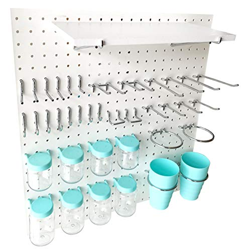 World Axiom Pegboard Hooks Kit Blue 41-Piece 1/4'Holes Peg Board Accessories Set with Pegboard Shelf,Attachments,Pegs and Blue Jars-Strong,Heavy-Duty Wall Pegboard Hook Crafting,Sewing Tool Organizer
