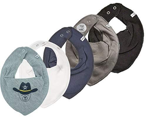 Pippi Unisex Baby 5er Pack Lätzchen Dreieckstücher Halstuch (Cowboy Grautöne)