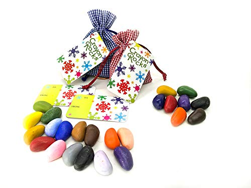 16 and 8 Crayon Rocks in Blue and Red Gingham Bags