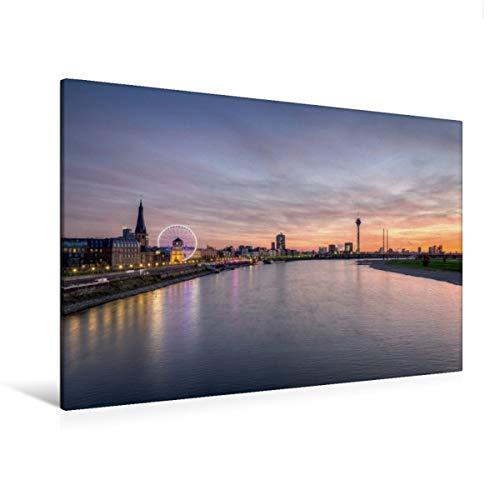 Premium Textil-Leinwand 120 x 80 cm Quer-Format Düsseldorf Skyline | Wandbild, HD-Bild auf Keilrahmen, Fertigbild auf hochwertigem Vlies, Leinwanddruck von Michael Valjak