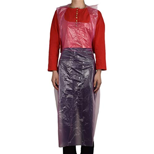 100FIXEO 47' x 28' Light Weight Breathable Plastic Disposable Aprons Perfect for Cooking and Arts Smock n' Crafts Painting Kitchen Bibs (100 PCS) (Women,Pink)