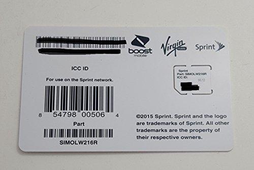 Sprint UICC ICC Micro SIM Card SIMOLW216R - Samsung Galaxy S4, S5, S5 Sport, Note 3, Note 4