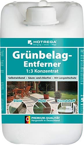 HOTREGA Grünbelag-Entferner 1:3 Konzentrat 5L - Algen, Grünspan und Grünbeläge entfernen - Einsetzbar auf Stein, Holz und Kunststoff