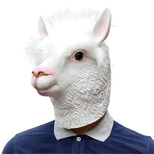 BaronHong Alpaca Cosplay Fiesta de Halloween Sombrero de látex Realista Máscara Completa 3D (Blanco, M)