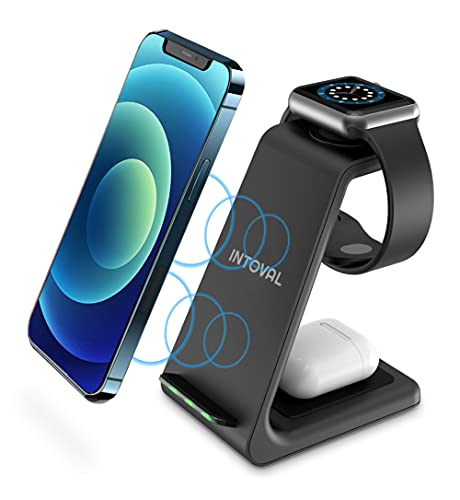 Intoval Wireless Charging Station, 3 in 1 Charger for Apple iPhone/iWatch/Airpods,iPhone 12 Pro Max/12 Pro/12/11 Pro Max…