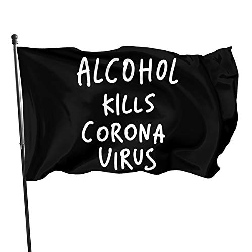 Mrscsefid Alcohol Kills Coronavirus Flag 3 X 5 Flag for Yard Decoration Banner