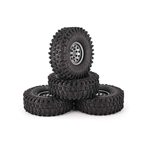 Ba30DEllylelly 4Pcs 1,9 Zoll 120mm Gummireifen Reifen mit Metallfelgensatz für 1/10 Traxxas TRX-4 SCX10 RC4 D90 RC Crawler Autoteil