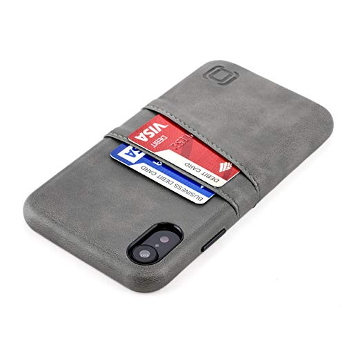 Dockem iPhone XR Wallet Case: Built-in Metal Plate for Magnetic Mounting & 2 Credit Card Holders (6.1 Exec M2, Synthetic Leather, Grey)
