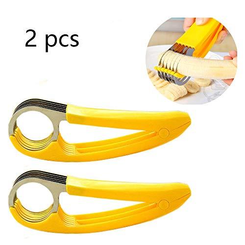 FireKylin Banana Slicer, ABS + Stainless Steel Fruit Salad Peeler Cutter Dishwasher Safe Kitchen Tools For Cucumber, Sausage, Banana(2 pcs)