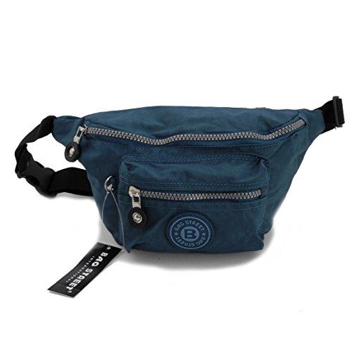 Bag Street Gürtel Tasche Hüfttasche Bauchtasche Nylon präsentiert von ZMOKA® in versch. Farben (Türkis Blau)
