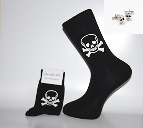 Glam Novelty Socks - Sock & Cufflink Sets Manschettenknöpfe, Socken mit weißem Totenkopf und gekreuzten Knochen, Schwarz Tolles Geschenk für Weihnachten, Geburtstag, Vatertag, Jahrestag oder Geschenk