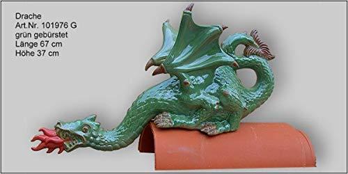 Dachschmuck Dachfigur feuerspeiender Drache (grün)