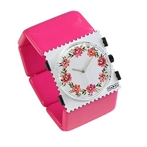 S.T.A.M.P.S. Stamps Uhr komplett - Zifferblatt Diamond Floral auf Belta pink