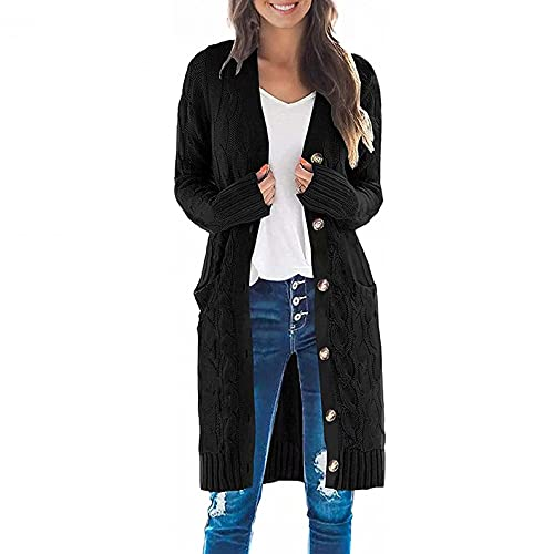Burband Womens Oversized Long Cardigans Open Front Chunky Cable Knitted Cardigan Sweaters Draped Button Down Coats Black