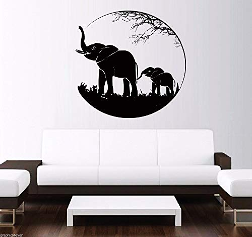 wopiaol 2016 Elephants Decal Black Vinyl Wandtattoo African Animal Wandaufkleber Home Decoration Art Mural Room Wanddekoration