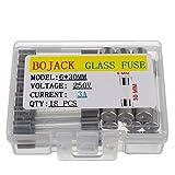 BOJACK 6x30 mm 3 A 250 V 0.24x1.18 pulgadas F3AL250V 3 amp 250 voltios Fusibles de vidrio de soplado rápido (paquete de 18 piezas)