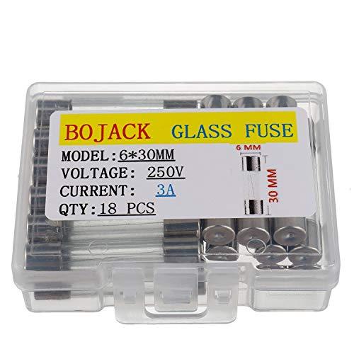 BOJACK 6x30 mm 3 A 250 V 0,24 x 1,18 Zoll F3AL250V 3 Ampere 250 Volt Fast-Blow Glas sicherungen (Packung mit 18 Stück)