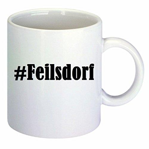 Koffiemok #Feilsdorf Hashtag ruit keramiek hoogte 9,5 cm ? 8 cm in wit