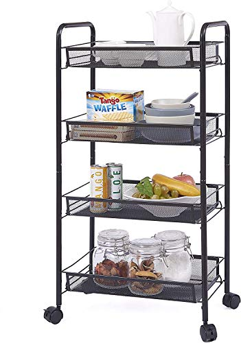 Rolling Metal Trolley Cart Mobile Utility Carts with 4 Steel Wire Shelves and Easy Glide Caster Wheels, Slide Out Mesh Storage Cart Storage Tower Rack Storage Shelves for Home Kitchen Bathroom Storage