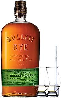 Bulleit Rye 95 Bourbon Frontier Whiskey 0,7 Liter  2 Glencairn Gläser  Einwegpipette 1 Stück