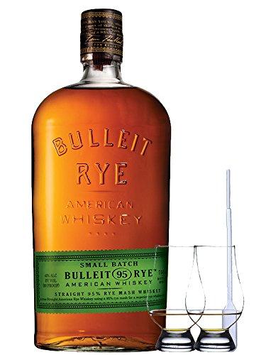 Bulleit Rye 95 Bourbon Frontier Whiskey 0,7 Liter + 2 Glencairn Gläser + Einwegpipette 1 Stück