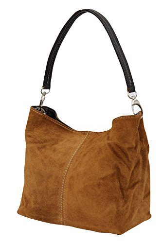 AMBRA Moda Damen Wildleder Handtasche, Henkeltasche, Schultertasche, WL807 (Cognac)