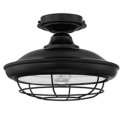 "Designers Impressions Charleston Matte Black Semi-Flush Mount Ceiling Light Fixture: 10002 - Style Name: Charleston --- Light Style: Beach Finish: Matte Black----- Glass: None Height: 9"" ----- Diameter: 14"" - kitchen-dining-room-decor, kitchen-dining-room, chandeliers-lighting - 41JCMRGavBL. SS400  -"